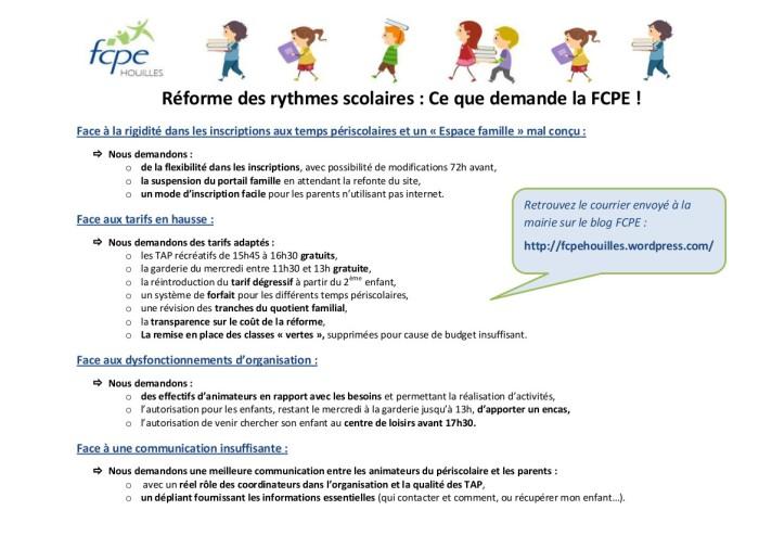 Les demandes de la FCPE
