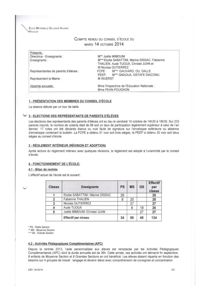 Compte rendu Conseil d'école Allende du 14 octobre 2014-1
