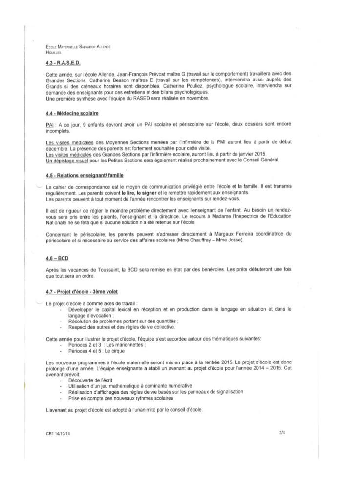 Compte rendu Conseil d'école Allende du 14 octobre 2014-2