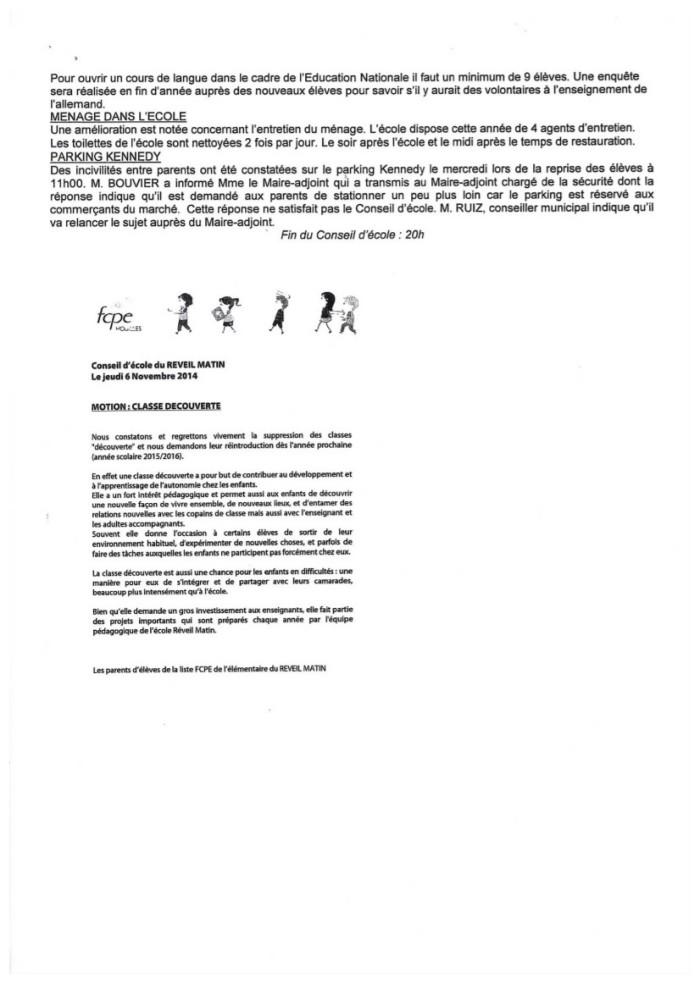 Compte rendu du conseil d'école Reveil Matin du 6 novembre 2014-5