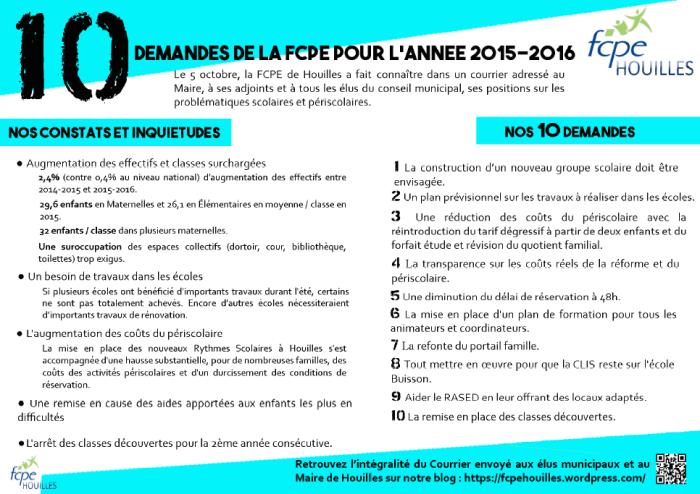 10 Demandes FCPE 2015-2016